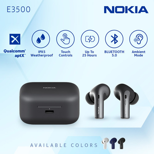Foto Produk Nokia True Wireless TWS Earphone E3500 - Black dari Nokia Audio Official Store