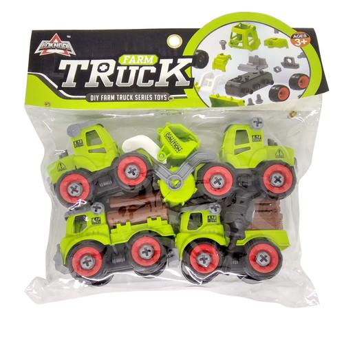 Foto Produk 4pcs DIY Farm Truck Series Toys Mainan Mobil Pertanian Anak Laki Laki dari Grandia Shop
