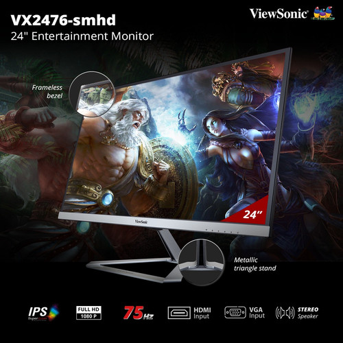 "Foto Produk Monitor LED 23.5"" / 24"" ViewSonic VX2476-SMHD|Full HD|IPS|Speaker dari 1 Tech Store"
