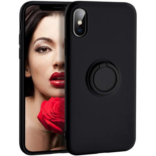 Foto Produk Casing Ring Holder Silicone Soft Case iPhone iPhone X XR XS Max - Hitam, X - XS dari iShop Here