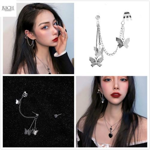 Foto Produk Anting Wanita Korea Tusuk Klip Rantai Panjang Wanita Bentuk Kupu-Kupu dari RichShop17