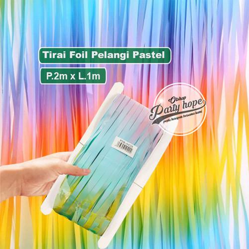 Foto Produk tirai foil warna PASTEL / backdrop foil background rainbow pelangi dari PARTY HOPE 2