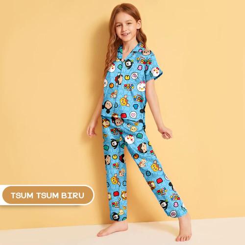 Foto Produk Monalisa Piyama Anak Usia 8-10 Tahun (Size 10) Motif Karakter - Part 1 - Tsum Tsum Biru dari Aneka Textile Official