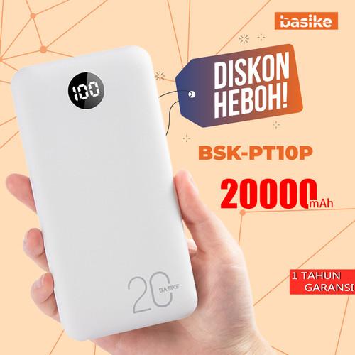 Foto Produk BASIKE Power Bank 20000mAh Dual USB Fast Murah Mini for Iphone Android - PT10P -1 input dari Basike Official Store