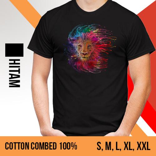 Foto Produk KAOS PRIA GAMBAR SINGA (T-SHIRT BERGAMBAR LION) - WARNA HITAM - L dari Mall Custom