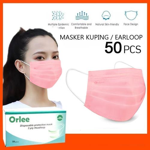 Foto Produk Masker 3 Ply 3Ply Earloop Kuping Medis kemenkes Orlee Pink isi 50 dari lbagstore