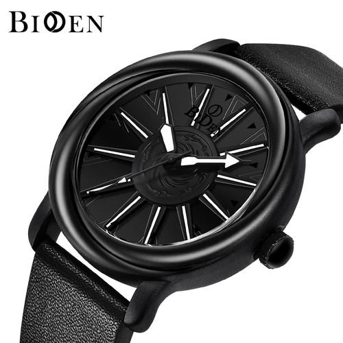 Foto Produk jam tangan BIDEN pria Putar dial Mode Tali kulit Tahan Air Jam Tangan - Hitam dari BIDEN Official Store