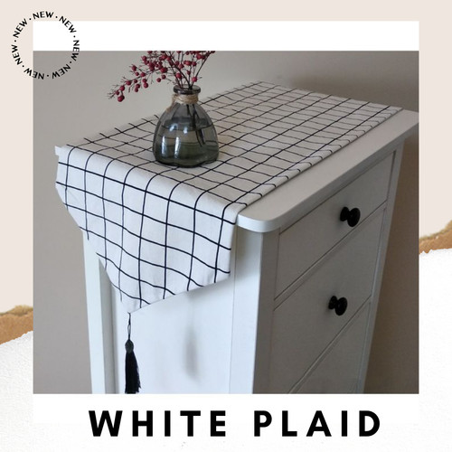 Foto Produk Table Runner 160*32 Canvas Linen / Taplak Meja Tamu Panjang Vintage - White Plaid dari Le Carre