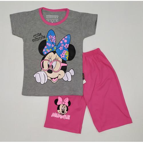 Foto Produk Kaos Setelan Anak Perempuan Cute Minnie Mouse Size M - XL Bahan Katun - M dari Tecca Store