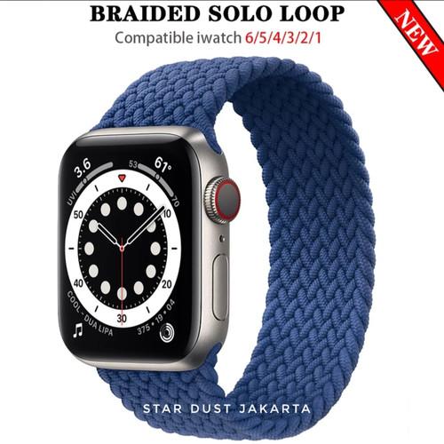 Foto Produk Strap Apple watch SE 6 5 4 3 38mm-44mm SOLO LOOP BRAIDED NYLON IWATCH - Ocean Blue, 38/40mm SIZE L dari Star Dust