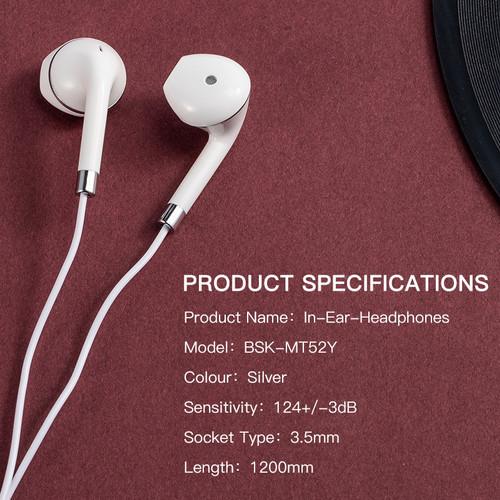 Foto Produk Headset Gaming BASIKE Earphone iPhone Bass 3.5mm Mikrofon Android - MT52 --WHITE dari Basike Official Store