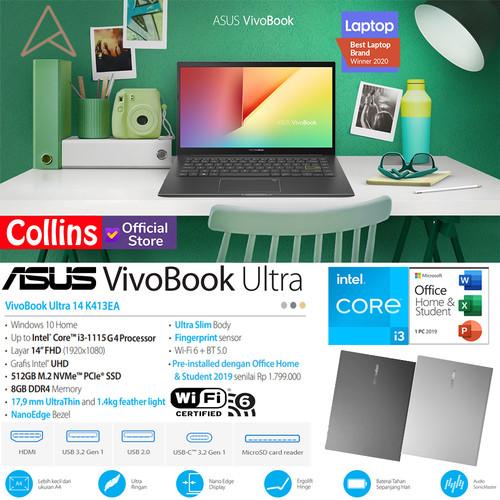 "Foto Produk ASUS VIVOBOOK 14 K413EA - i3 1115G4 8GB SSD 512GB 14"" FHD IPS W10 OHS dari Collins Official"