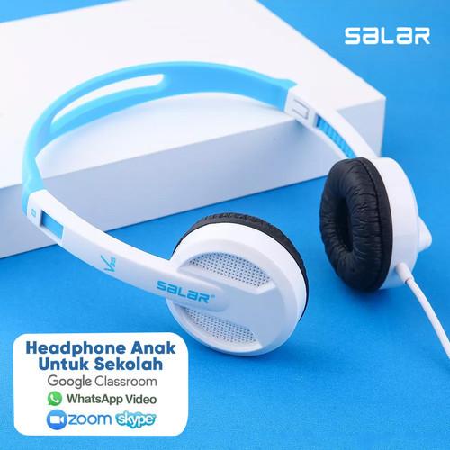 Foto Produk Headset Earphone Headphone Bando Salar V38 Headset Anak Colorful - PutihBiru dari Unitech Official