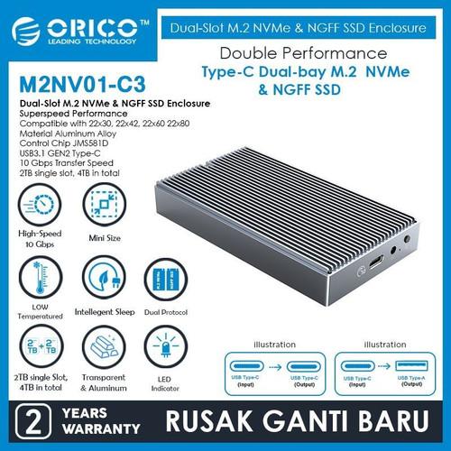 Foto Produk ORICO M2NV01-C3 Dual-Slot M.2 NVMe & M.2 SATA NGFF SSD Enclosure dari manekistore