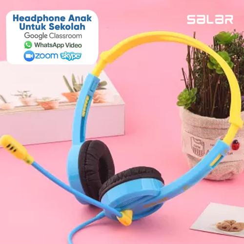 Foto Produk Headset Earphone Headphone Bando Salar V38 Headset Anak Colorful - BiruKuning dari Unitech Official