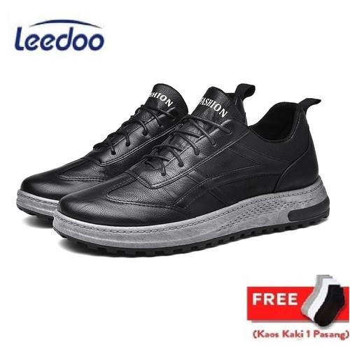 Foto Produk Leedoo Sepatu Kets Sneakers Pria Sepatu Casual Santai IMPORT MC407 - Hitam, 43 dari Leedoo