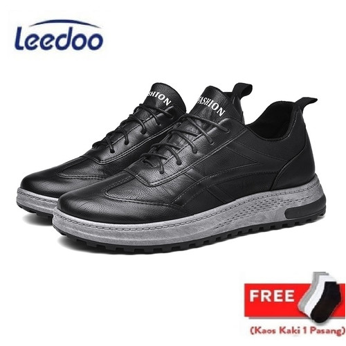Foto Produk Leedoo Sepatu Kets Sneakers Pria Sepatu Casual Santai IMPORT MC407 - Hitam, 44 dari Leedoo