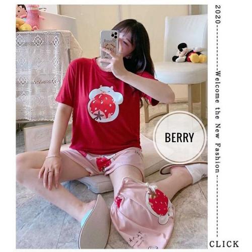 Foto Produk BAJU TIDUR WANITA / PIYAMA JUMBO CELANA PENDEK MOTIF LUCU IMPORT - BERRY dari Baju tidur dewasa wanita import