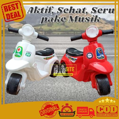 Foto Produk Vespa Fun Bike Mini Mainan Sepeda Motor Anak Scooter Roda Tiga 3 Murah - No Musik Merah dari Sportsite