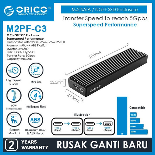 Foto Produk ORICO M2PF-C3 M.2 SATA NGFF SSD Enclosure dari manekistore