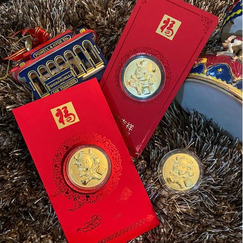Foto Produk Angpao Emas 24 Karat Sincia Cny Shio Kerbau 2021 bulat 0.08gr dari Shopwell.id