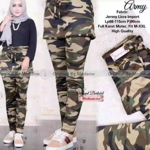 Foto Produk Celana senam wanita..model Rok lejing army/loreng.. bahan import - Cokelat, All Size dari NAZEERA_SHOP