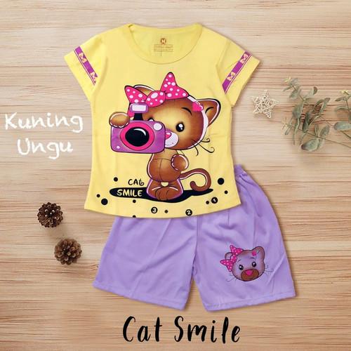 Foto Produk SETELAN ANAK PEREMPUAN KOMBINASI/PAKAIAN ANAK CEWEK/BAJU ANAK MURAH - Cat Smile, S dari Ramora Kids