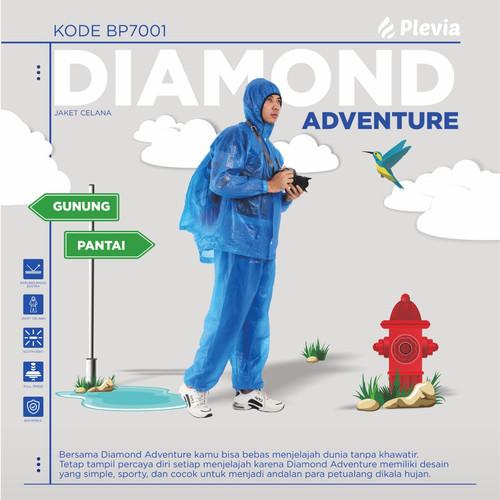 Foto Produk Jas Hujan Mantel Hujan Celana Plevia BP7001 Diamond ADVENTURE BackPack - Random dari dajessvin