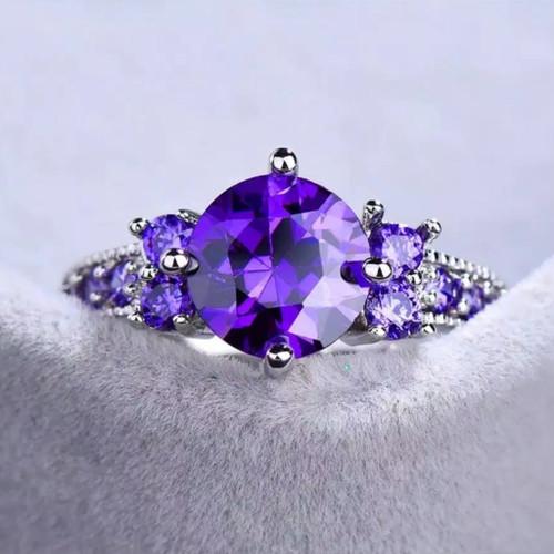 Foto Produk Cincin zircon lingkar ungu kristal berlian wanita CCZLU - Ungu, 6 dari banabanain