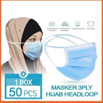 Foto Produk Masker Hijab 3 ply isi 50pcs Earloop Protective Mask Isi 50Pcs dari AnerStore