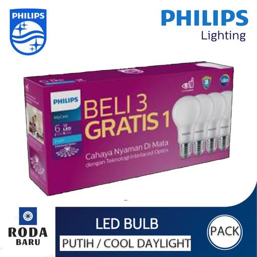 Foto Produk Bohlam Lampu LED Phillips promo beli 3 gratis 1 6 watt-12watt - 6 WATT dari Roda Baru