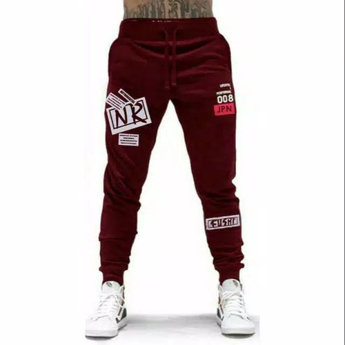 Foto Produk Celana Joger Pria Panjang Jogger Pants Cowok NR Fashion Sport Santai - Marun dari queenlabel