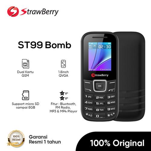 Foto Produk Strawberry – Bomb | Handphone Candybar HP Murah Dual SIM Bluetooth - Black dari Strawberry Official