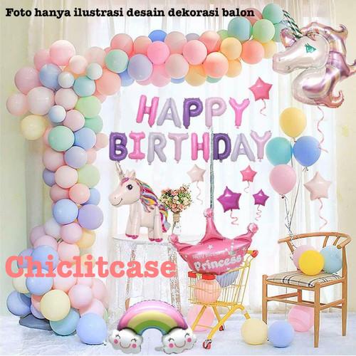Foto Produk paket set dekorasi balon ulang tahun unicorn birthday anak pony pink dari chic lit case