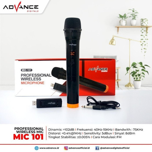 Foto Produk Mic Wireless Single Advance 101//ORIGINAL/Bergaransi/Microphone Murah dari STATION COMPUTER DAN ELEKTRONIKA