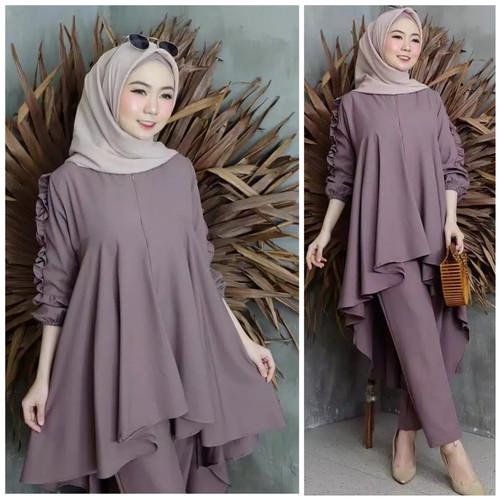 Foto Produk Setelan Syari Wanita 2 in 1 Baju Muslim Wanita Sadewi Kekinian Premium - Lavender dari Shopieana Store