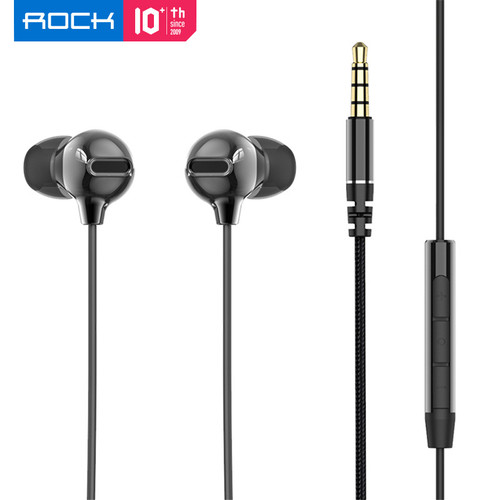 Foto Produk ROCK Original Zircon Stereo Earphone with Microphone - Hitam dari ROCK Official Store