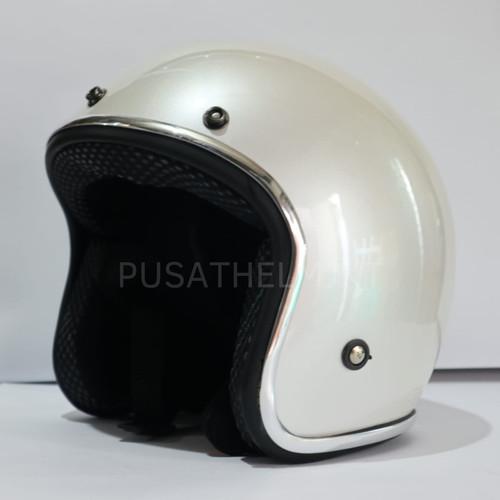Foto Produk helm bogo retro list chrome - Putih, All Size dari kliwonOnline
