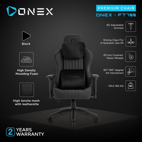 Foto Produk ONEX FT700 Premium Quality Gaming Chair - Black dari manekistore