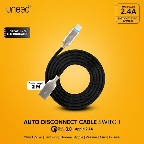 Foto Produk UNEED SWITCH Kabel Auto Disconnect Type C with QC 3.0 UCB21.1C dari Uneed Indonesia
