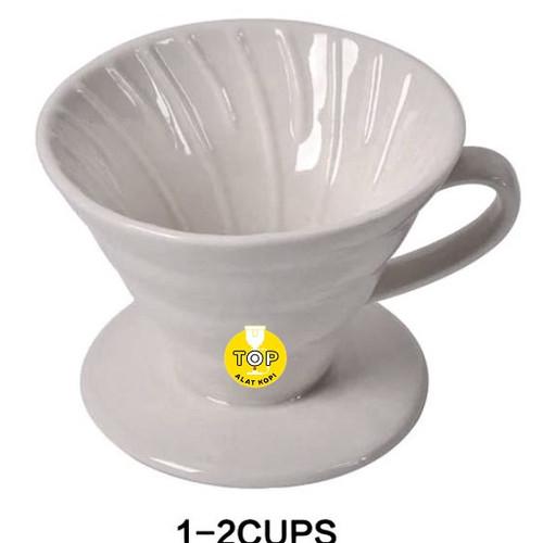 Foto Produk Dripper Ceramic V60 size 01&02 warna hitam alat seduh kopi manual brew - HITAM size 02 dari TOP alat kopi