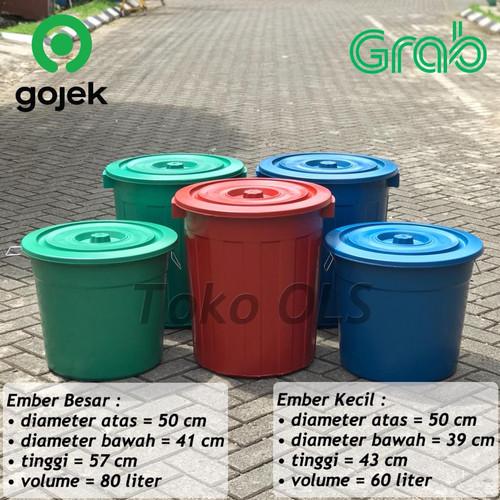 Foto Produk Tong Sampah Besar / Tong Sampah Jumbo Murah Kuat Tebal - Merah, 80 Liter dari Toko OLS