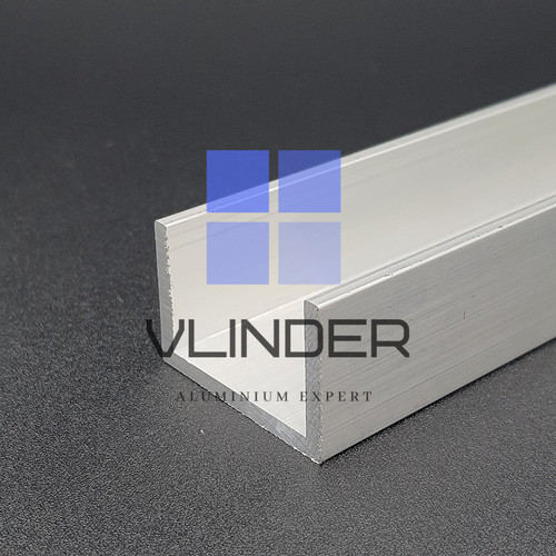 Foto Produk U Channel Aluminium 38 mm x 25 mm, t. 3.2 mm - Natural Alu, 1 cm dari Vlinder Aluminium