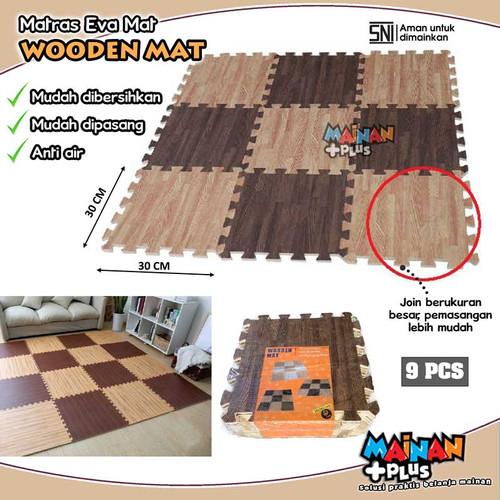 Foto Produk MATRAS EVAMAT PREMIUM PUZZLE KARPET WOODEN EVA MAT MOTIF KAYU CATUR dari MainanPlus