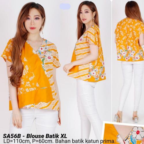 Foto Produk BIGSIZE BLOUSE BATIK XL MODERN ATASAN JUMBO CEWEK BAJU FASHION WANITA - Mustard dari Ace Sakura Fashion