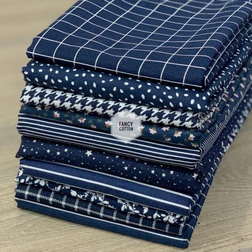Foto Produk kain katun jepang motif navy edition fancy dari tokai senko - A. kotak f2020 dari Fancy Cotton