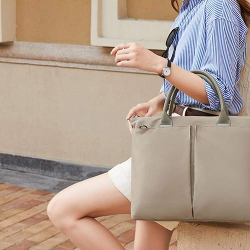 Foto Produk Multifunctional Laptop Hand Bag Tas Jinjing Selempang 12 13 14 15 15.6 - Khaki, 14 inch dari Warehousegadget28
