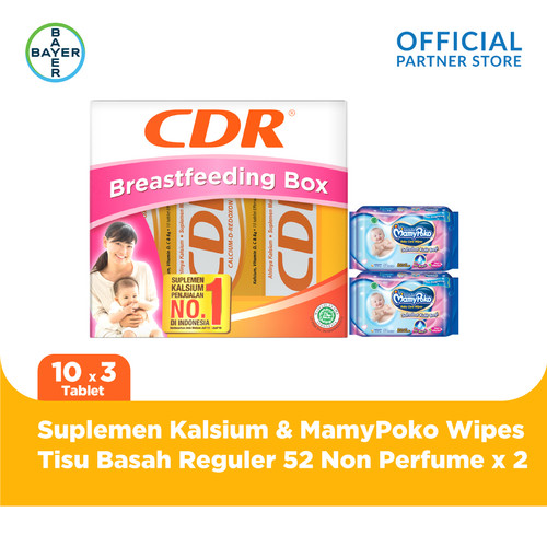Foto Produk CDR Breastfeeding Pack & MamyPoko Tisu Basah 52 Non Perfume x 2 Unit dari Bayer Health Partner
