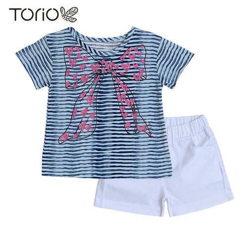 Foto Produk Torio Short Pant Set Stripy Blue - Baju Anak Perempuan - Setelan Anak - 1-2 tahun dari Torio