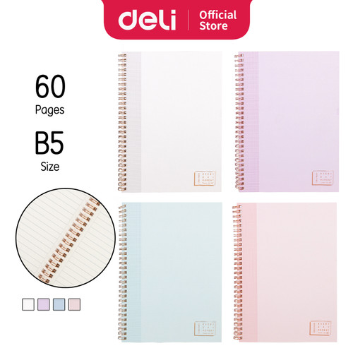 Foto Produk Deli Notebook Buku Catatan Spiral B5 60lembar LB560 - TINT dari Deli Stationery